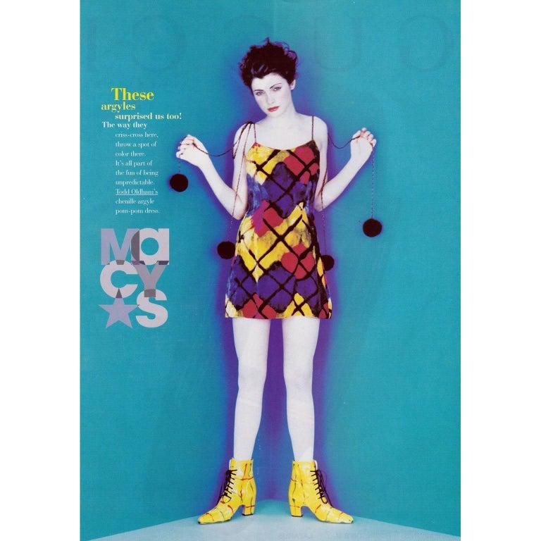Todd Oldham Vintage Velvet Argyle Harlequin Runway Dress w/ pom poms at the MET For Sale 5