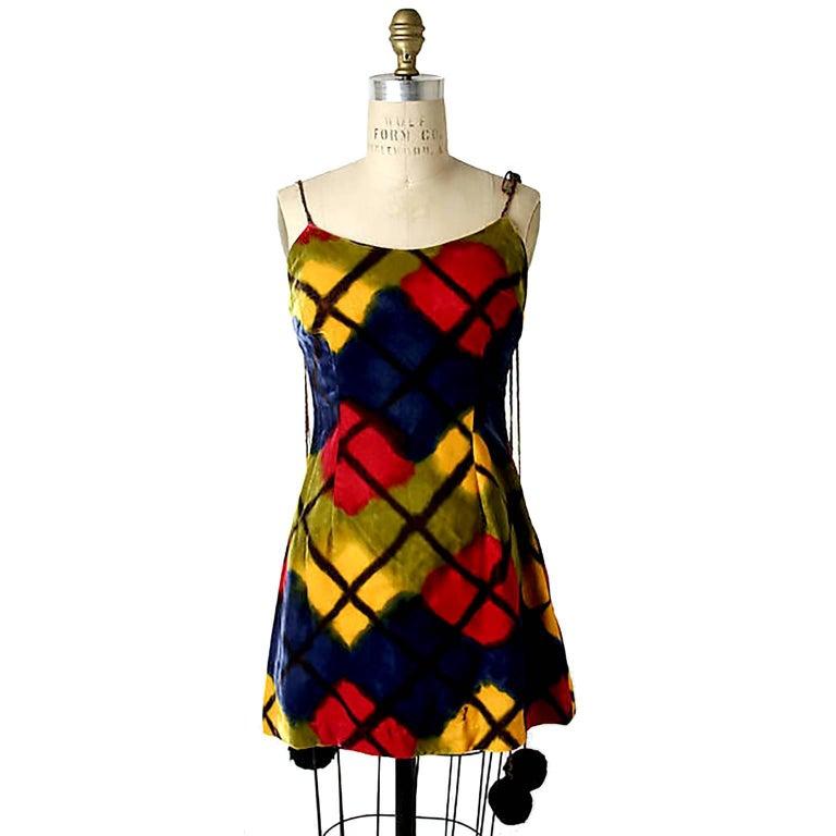 Todd Oldham Vintage Velvet Argyle Harlequin Runway Dress w/ pom poms at the MET For Sale 4