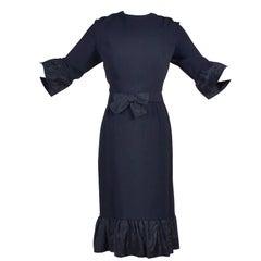 Pattullo Jo Copeland Late 1960s Black Crepe Dress W/ Bow Belt and Taffeta Ruffle