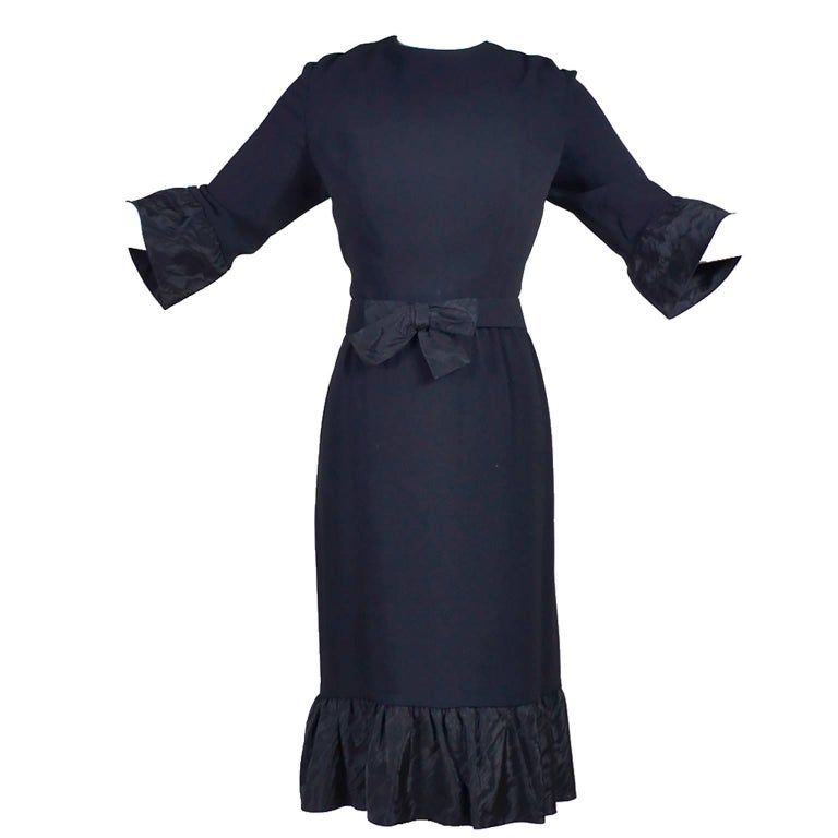 Pattullo Jo Copeland Late 1960s Black Crepe Dress W/ Bow Belt and Taffeta Ruffle