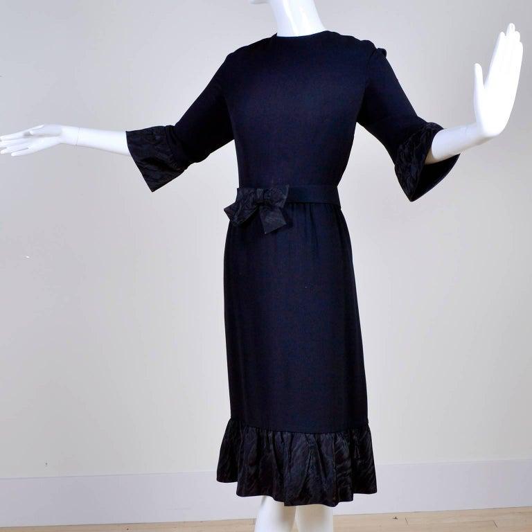 Pattullo Jo Copeland Late 1960s Black Crepe Dress W/ Bow Belt and Taffeta Ruffle For Sale 1