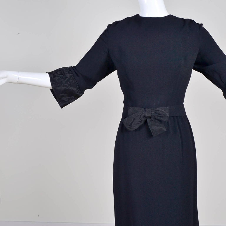Women's Pattullo Jo Copeland Late 1960s Black Crepe Dress W/ Bow Belt and Taffeta Ruffle For Sale