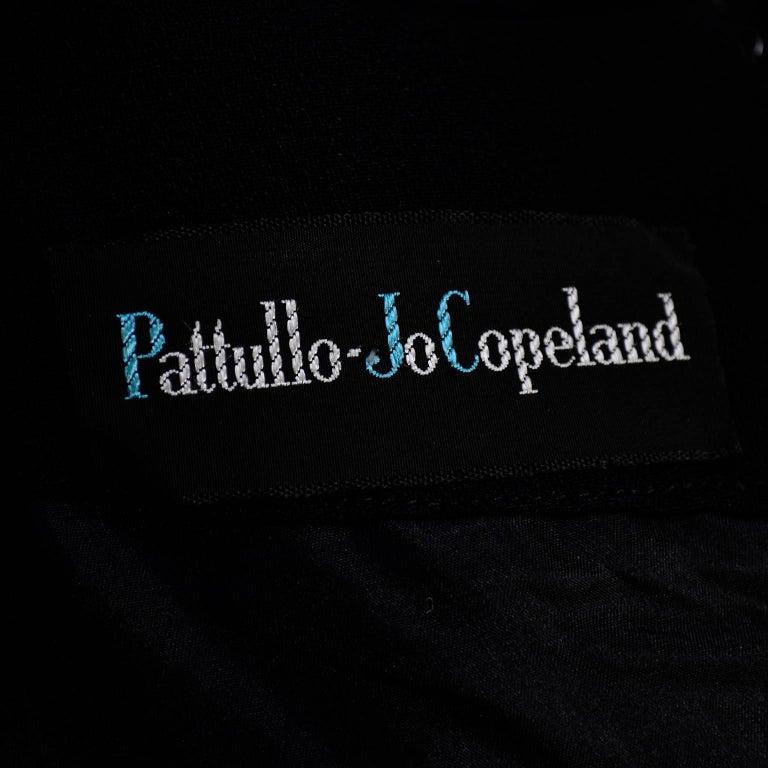 Pattullo Jo Copeland Late 1960s Black Crepe Dress W/ Bow Belt and Taffeta Ruffle For Sale 3