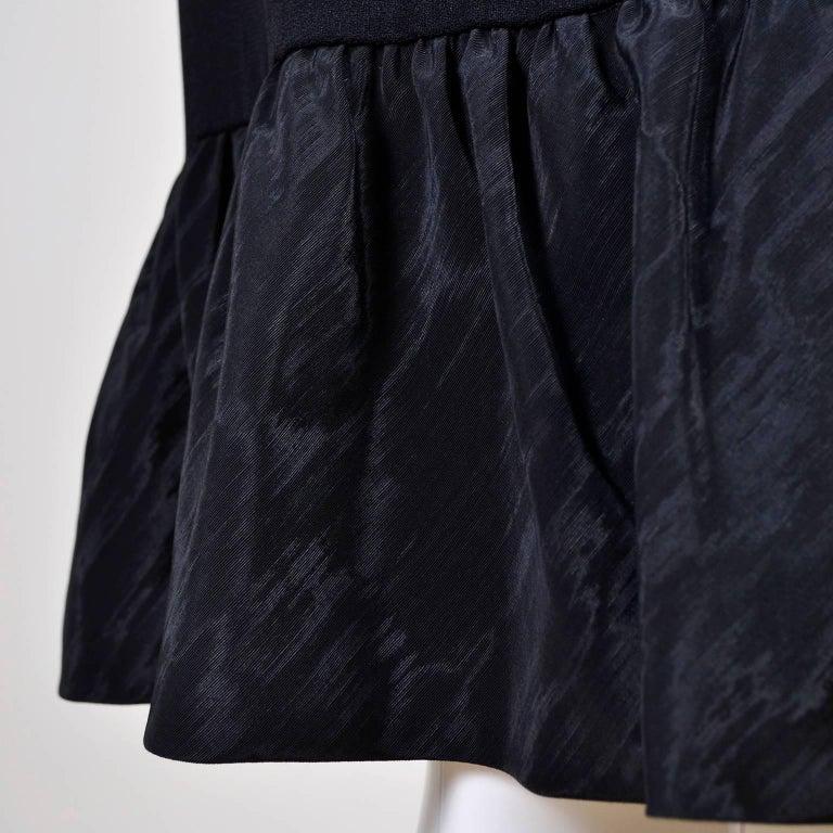 Pattullo Jo Copeland Late 1960s Black Crepe Dress W/ Bow Belt and Taffeta Ruffle For Sale 2