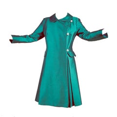 1960s Maxine California Green Evening Coat With Rhinestone Buttons