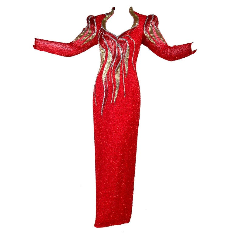 1980s Oleg Cassini Vintage Dress Red Silk Beaded Flames Evening Gown Size 6 For Sale