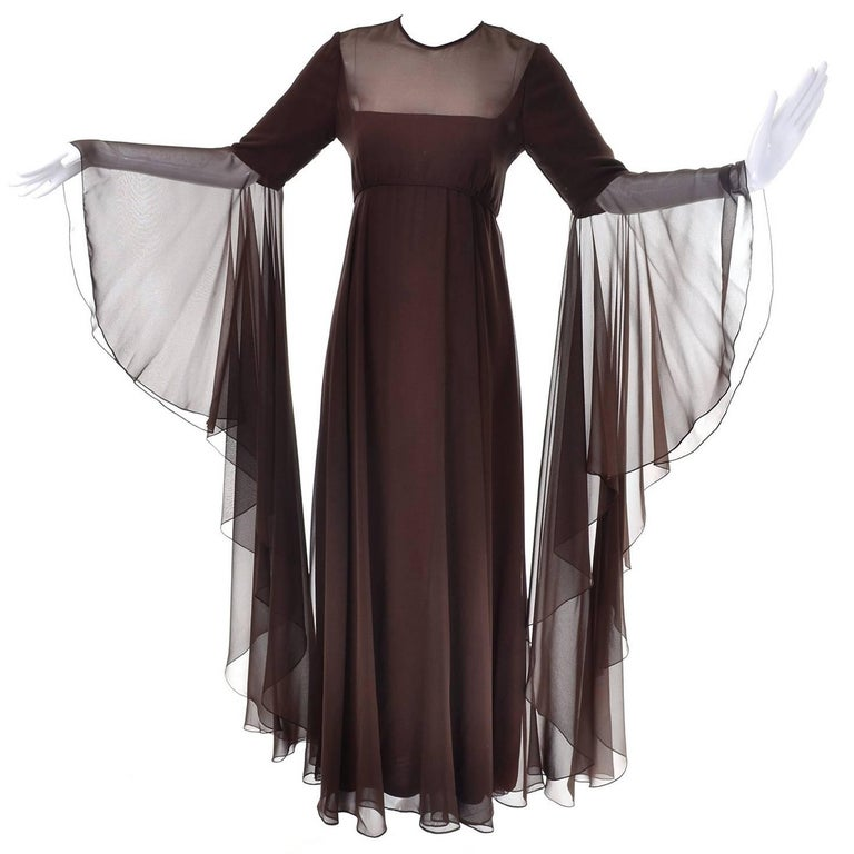 Vintage Estevez Dress in Brown Chiffon with Statement Sleeves Evening Gown
