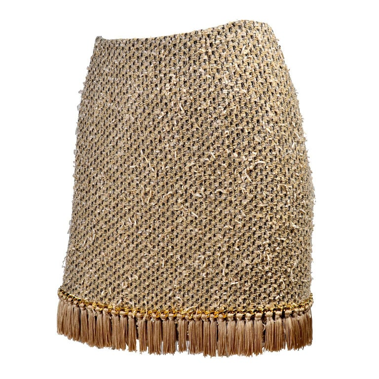 Moschino Gold Woven Skirt With Chain Detail And Tassel Fringe