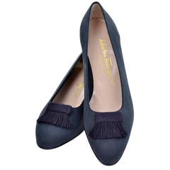 New Vintage Ferragamo Shoes in Navy Blue Suede with Fringed Tassels Size 8B