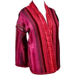 Boutique Vintage Jacket in Quilted Red Pink & Purple Silk & Velvet One of a Kind