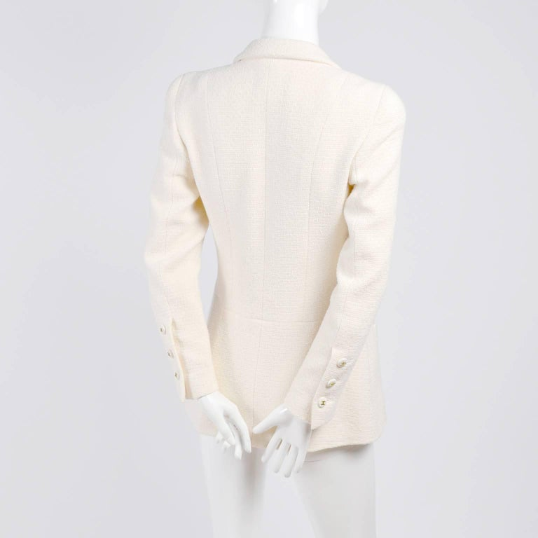 White Chanel Blazer Jacket in Creamy Ivory Tweed Wool w/ CC Logo Buttons & Silk Lining For Sale