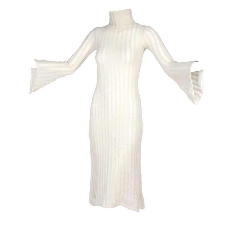 Vintage Dress With Bell Sleeves in Creamy Ivory Wool Blend Open Weave Knit For Sale