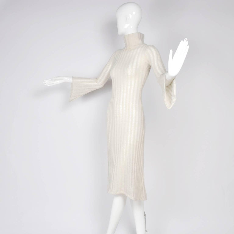 Vintage Dress With Bell Sleeves in Creamy Ivory Wool Blend Open Weave Knit In Excellent Condition For Sale In Portland, OR