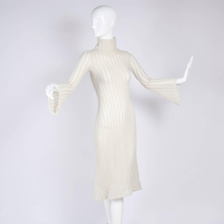 Beige Vintage Dress With Bell Sleeves in Creamy Ivory Wool Blend Open Weave Knit For Sale