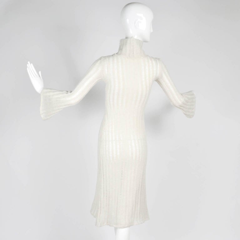 Women's Vintage Dress With Bell Sleeves in Creamy Ivory Wool Blend Open Weave Knit For Sale