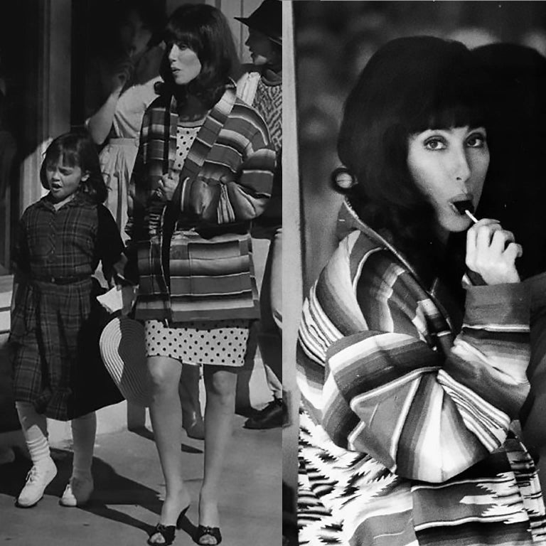 This is a gorgeous hand woven coat that was owned by Cher. We have attached images of Cher wearing this coat on the set of Mermaids in 1990, and you can see her wearing that famous polka dot dress underneath. Santa Fe artisan and weaver Chris