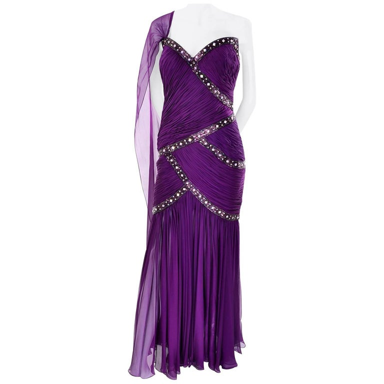 Michael Casey Vintage Dress in Purple Silk Beaded Chiffon Evening Gown For Sale