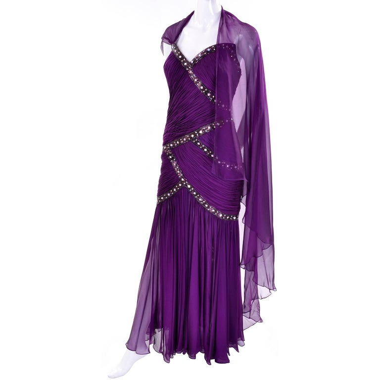 Michael Casey Vintage Dress in Purple Silk Beaded Chiffon Evening Gown In New Condition For Sale In Portland, OR