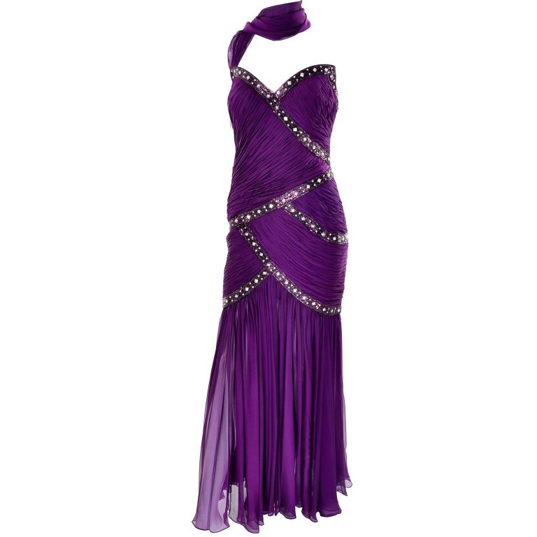 Women's Michael Casey Vintage Dress in Purple Silk Beaded Chiffon Evening Gown For Sale