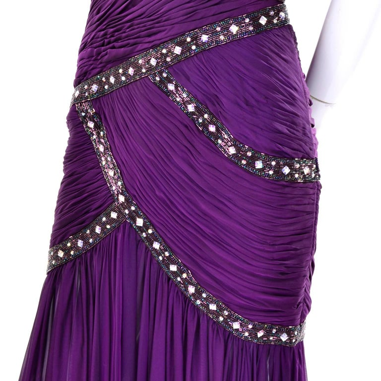 Michael Casey Vintage Dress in Purple Silk Beaded Chiffon Evening Gown For Sale 1