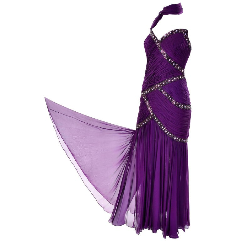 Michael Casey Vintage Dress in Purple Silk Beaded Chiffon Evening Gown For Sale 2