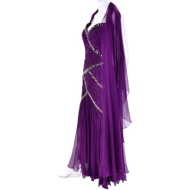 Michael Casey Vintage Dress in Purple Silk Beaded Chiffon Evening Gown For Sale 3