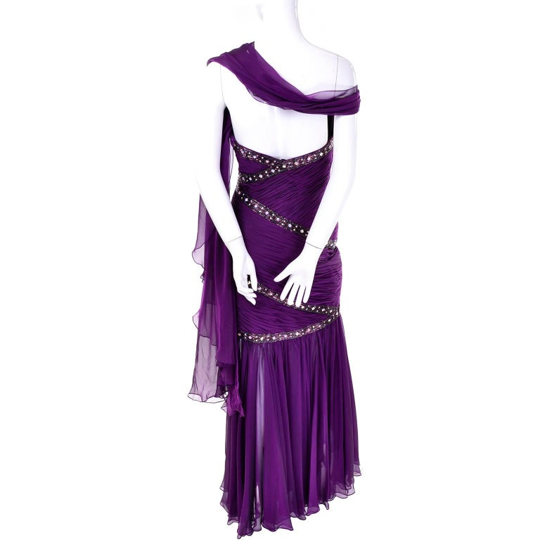 Michael Casey Vintage Dress in Purple Silk Beaded Chiffon Evening Gown For Sale 4