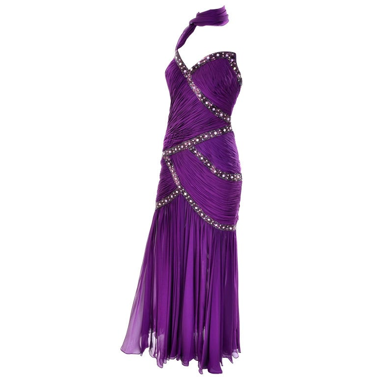 Michael Casey Vintage Dress in Purple Silk Beaded Chiffon Evening Gown For Sale 5