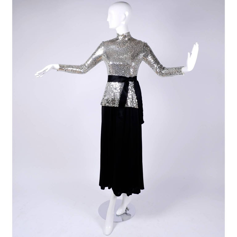 Norman Norell Vintage Dress Two Piece Silver Sequins Evening Top and Black Skirt 3