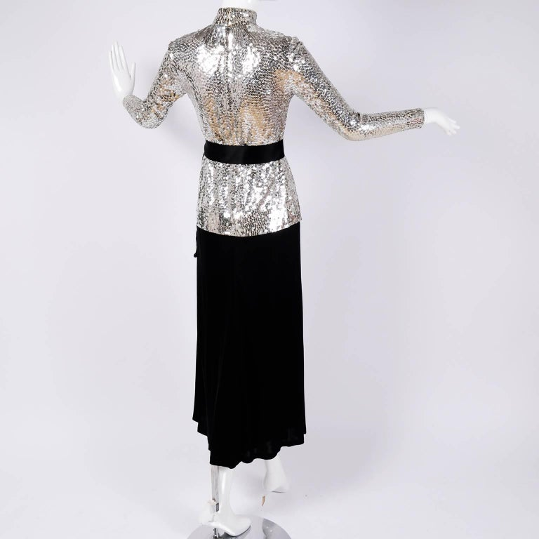 Norman Norell Vintage Dress Two Piece Silver Sequins Evening Top and Black Skirt 1