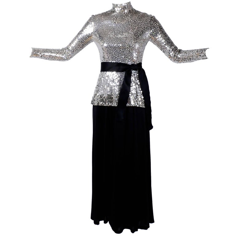 Norman Norell Vintage Dress Two Piece Silver Sequins Evening Top and Black Skirt