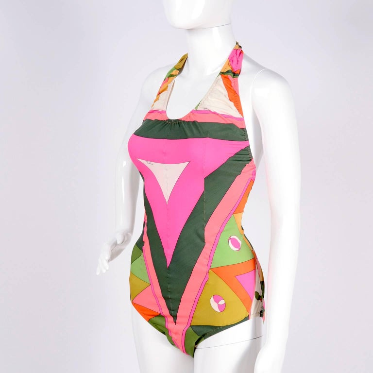 Pink Vintage Pucci Swimsuit Signature Print Size Medium For Sale