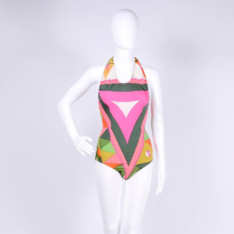Vintage Pucci Swimsuit Signature Print Size Medium For Sale 6