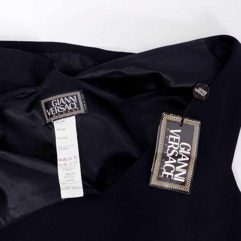Dead Stock New W/ Tags Gianni Versace Couture Vintage Little Black Dress, 1995  For Sale 10