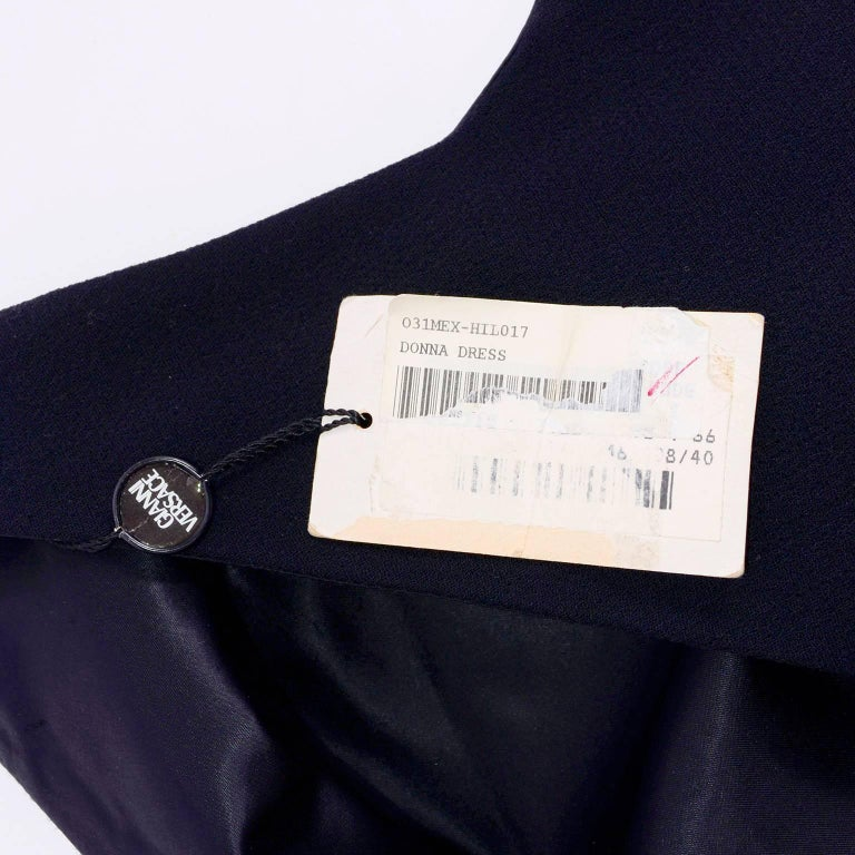 Dead Stock New W/ Tags Gianni Versace Couture Vintage Little Black Dress, 1995  For Sale 8
