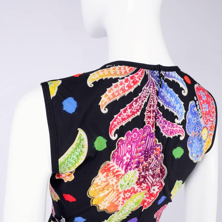 Vintage 1990s Gianni Versace Floral Silk Dress Runway A / W 1993 - 1994  In Excellent Condition For Sale In Portland, OR