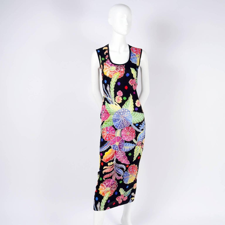 Vintage 1990s Gianni Versace Floral Silk Dress Runway A / W 1993 - 1994  For Sale 11