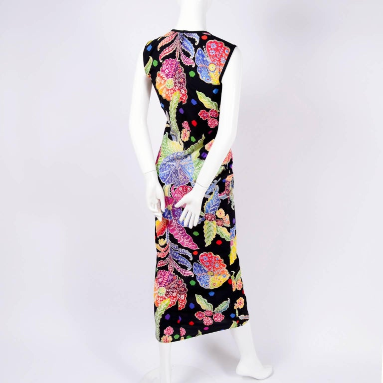 Vintage 1990s Gianni Versace Floral Silk Dress Runway A / W 1993 - 1994  For Sale 7