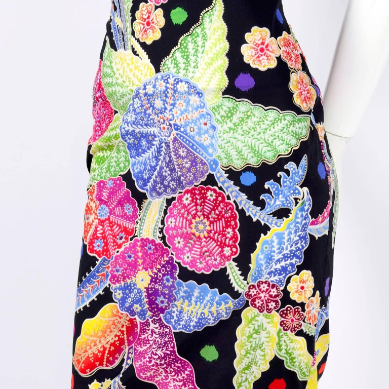 Vintage 1990s Gianni Versace Floral Silk Dress Runway A / W 1993 - 1994  For Sale 3