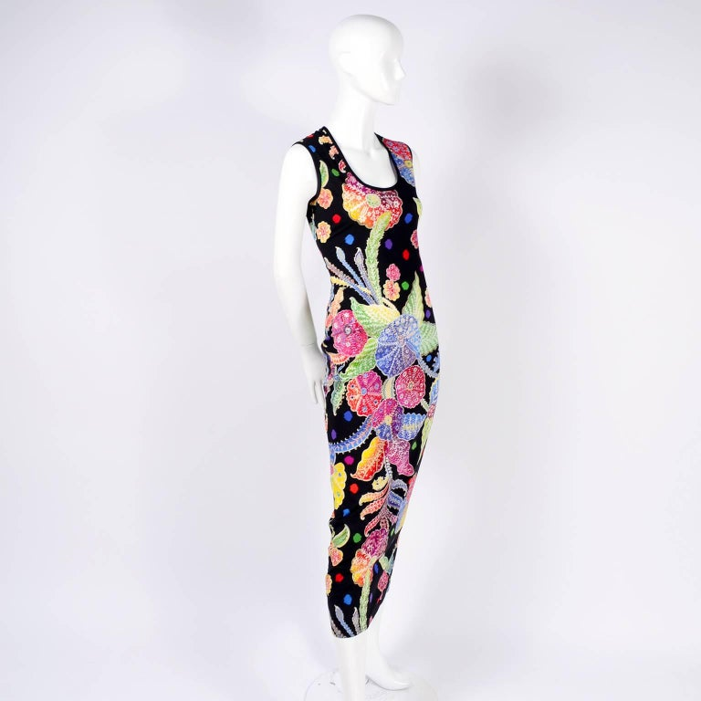 Women's or Men's Vintage 1990s Gianni Versace Floral Silk Dress Runway A / W 1993 - 1994  For Sale