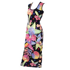 Vintage 1990s Gianni Versace Floral Silk Dress Runway A / W 1993 - 1994