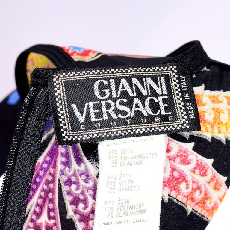 Vintage 1990s Gianni Versace Floral Silk Dress Runway A / W 1993 - 1994  For Sale 10