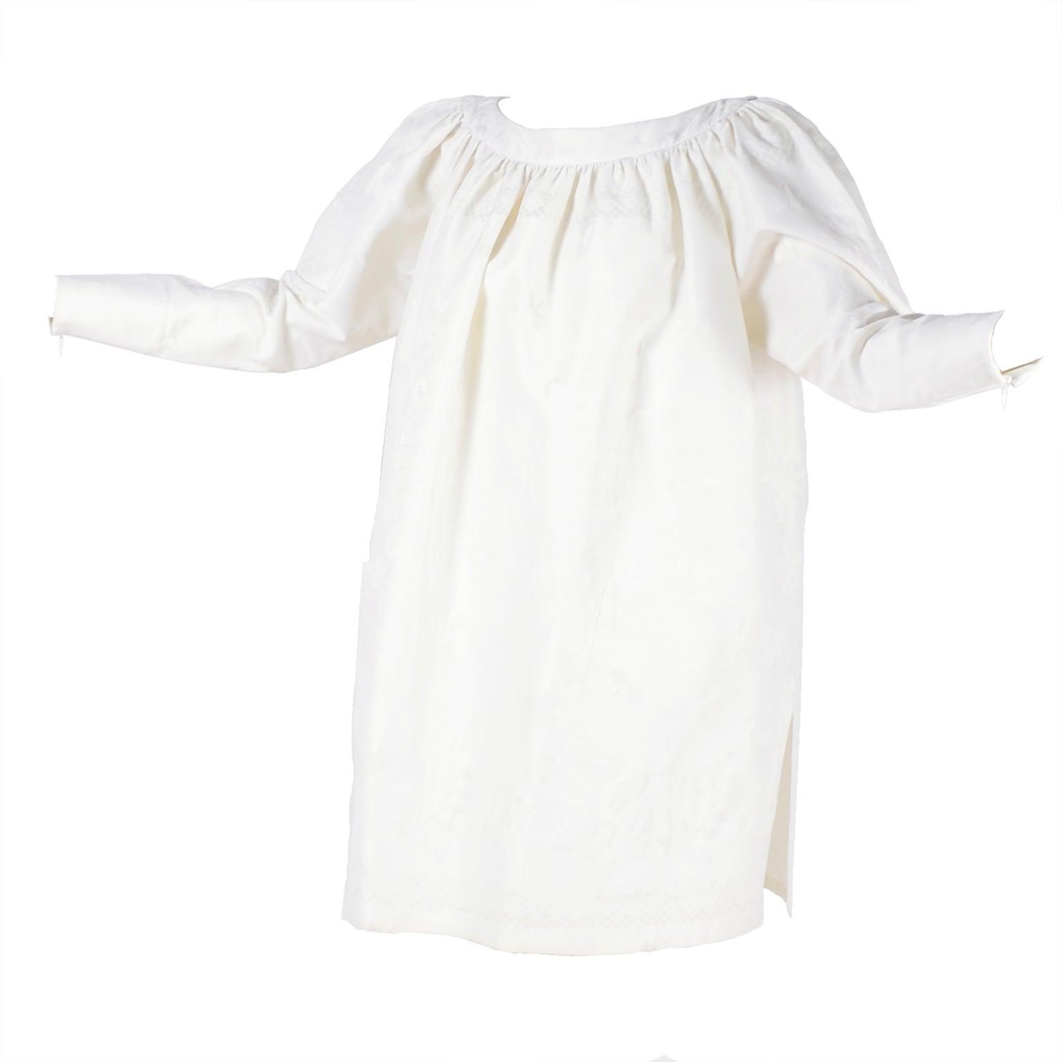 1980s Christian Lacroix Vintage White Linen Dress With Original Tag