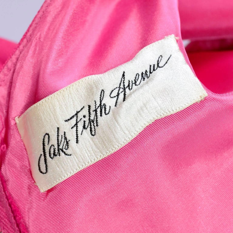 Saks Fifth Avenue Wedding Gowns: 1960s Saks Fifth Avenue Pink Silk Cocktail Or Wedding
