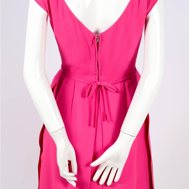 1960s Saks Fifth Avenue Pink Silk Cocktail or Wedding Guest Dress w/ Panels For Sale 3