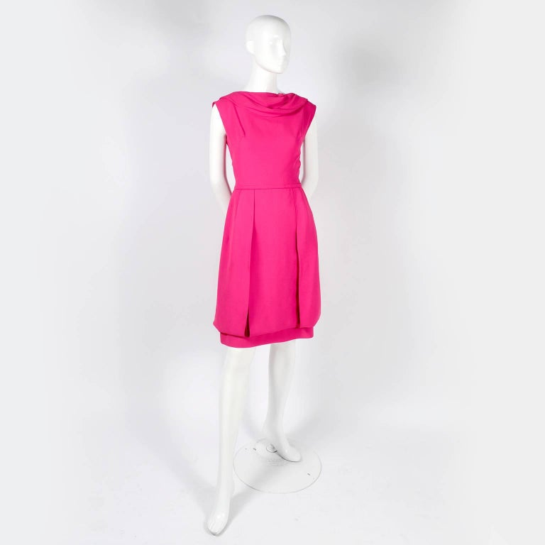 1960s Saks Fifth Avenue Pink Silk Cocktail or Wedding Guest Dress w/ Panels For Sale 7
