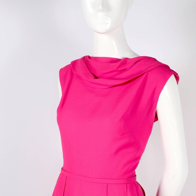 Women's 1960s Saks Fifth Avenue Pink Silk Cocktail or Wedding Guest Dress w/ Panels For Sale
