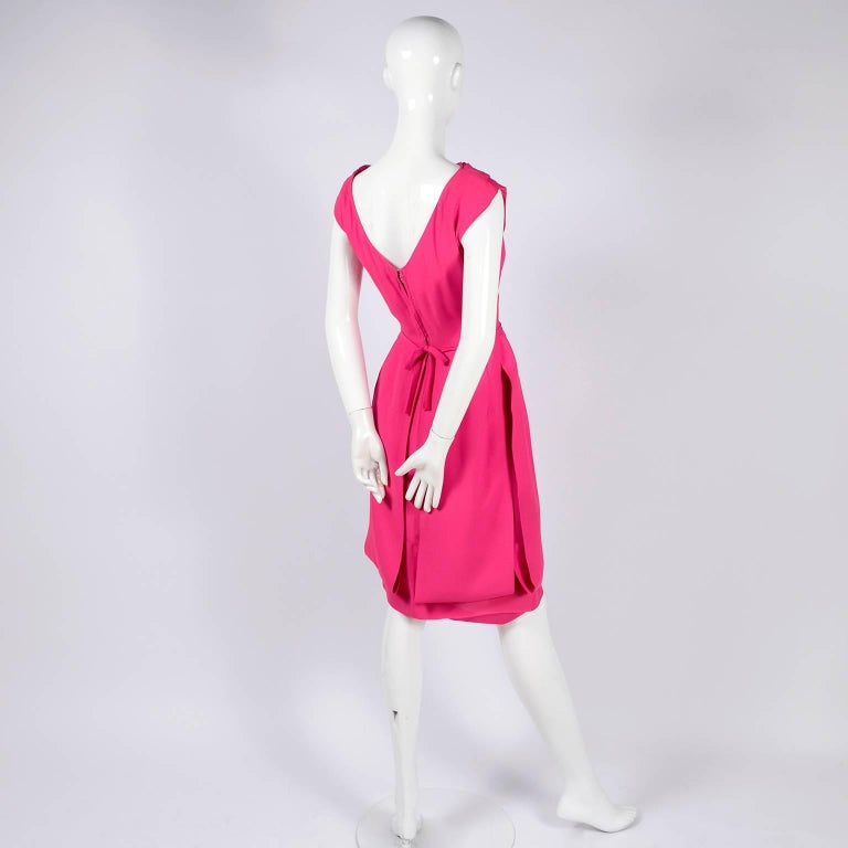 1960s Saks Fifth Avenue Pink Silk Cocktail or Wedding Guest Dress w/ Panels For Sale 2