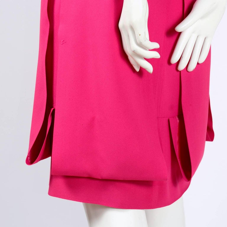 1960s Saks Fifth Avenue Pink Silk Cocktail or Wedding Guest Dress w/ Panels For Sale 6