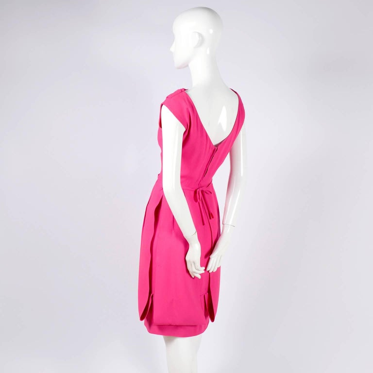1960s Saks Fifth Avenue Pink Silk Cocktail or Wedding Guest Dress w/ Panels For Sale 4